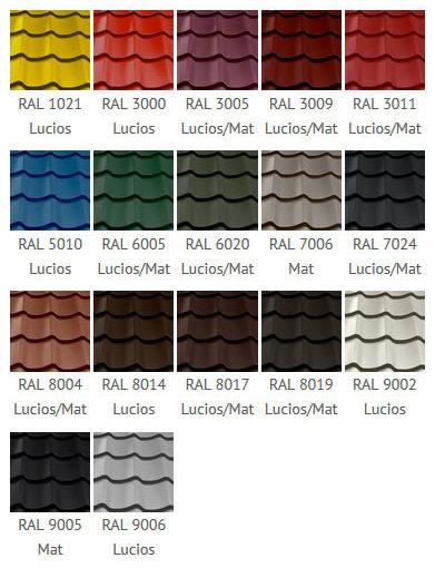 Paletar culori tabla tip tigla Classic Wetterbest