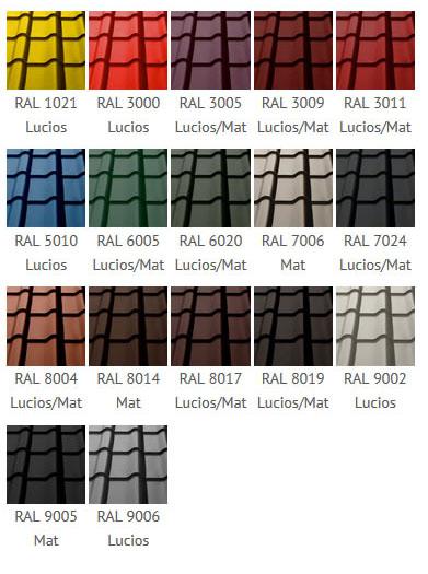 Paletar culori tabla tip tigla Gladiator Wetterbest