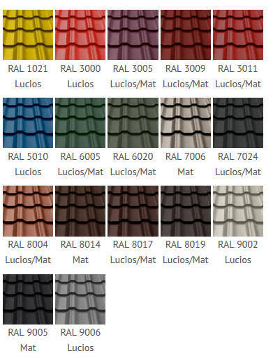 Paletar culori tabla tip tigla Plus Wetterbest
