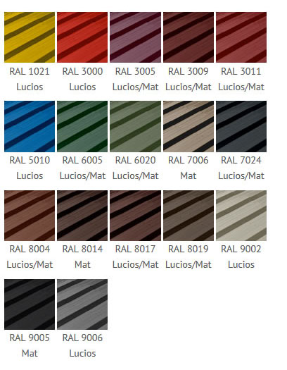 Paletar culori tabla cutata Wetterbest